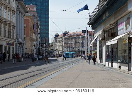 ZAGREB, CROATIA - MAY 13, 2015: Tram coming from the Ban Jelacic Square to Jurisiceva street