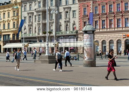 ZAGREB, CROATIA - MAY 13, 2015: Sunny day at Ban Jelacic Square