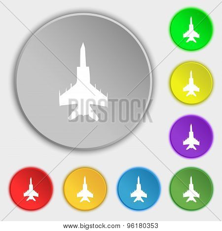 Fighter Icon Sign. Symbol On Five Flat Buttons. Vector