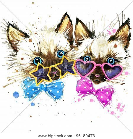 kittens twins T-shirt graphics. kittens twins illustration with splash watercolor textured  backgro