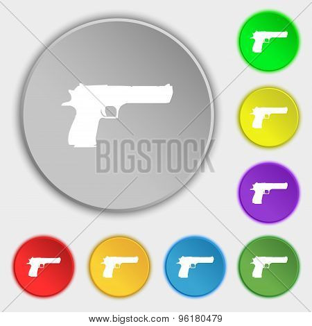 Gun Icon Sign. Symbol On Five Flat Buttons. Vector