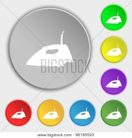 Iron Icon Sign. Symbol On Five Flat Buttons. Vector