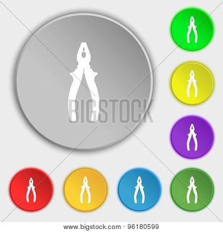 Pliers Icon Sign. Symbol On Five Flat Buttons. Vector