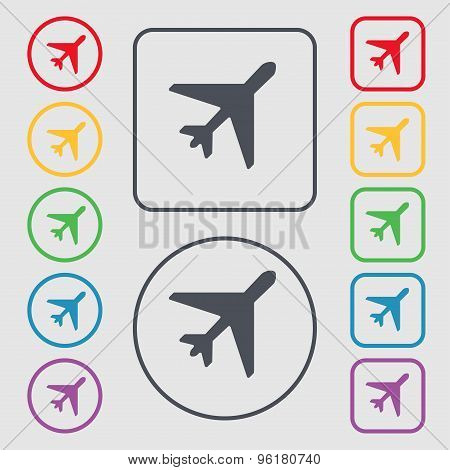 Airplane Icon Sign. Symbol On The Round And Square Buttons With Frame. Vector