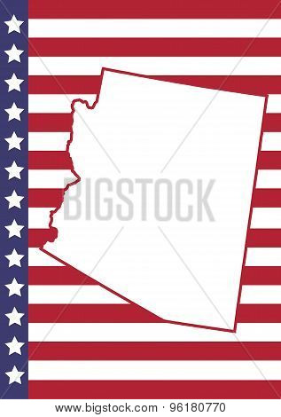 Arizona Cover Page Vector Design. Usa Flag On Background.