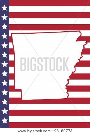 Arkansas Cover Page Vector Design. Usa Flag On Background.
