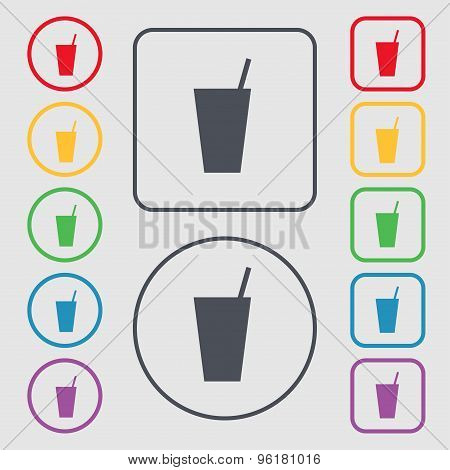 Cocktail Icon Sign. Symbol On The Round And Square Buttons With Frame. Vector