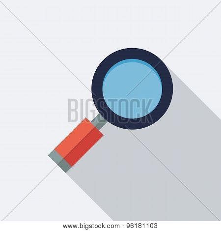 Magnifying Glass Icon. Flat Vector Icon With Long Shadow Design Collection.