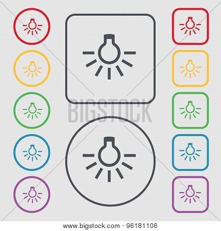 Light Bulb Icon Sign. Symbol On The Round And Square Buttons With Frame. Vector