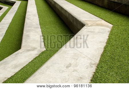 Stairway with green artificial grass