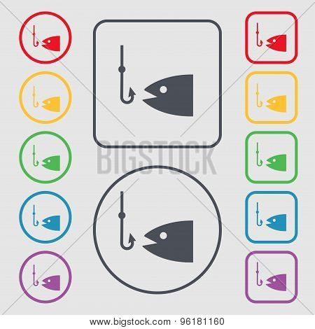 Fishing Icon Sign. Symbol On The Round And Square Buttons With Frame. Vector
