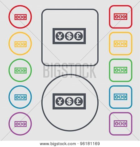 Cash Currency Icon Sign. Symbol On The Round And Square Buttons With Frame. Vector