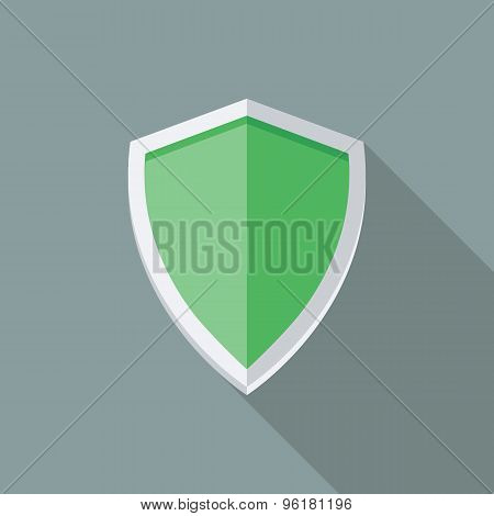 Green Shield Icon. Flat Vector Icon With Long Shadow Design Collection.