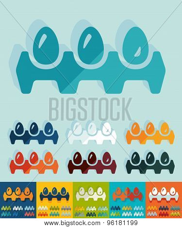 Flat design. tray of eggs