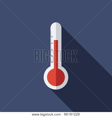 Thermometer Icon. Flat Vector Icon With Long Shadow Design Collection.