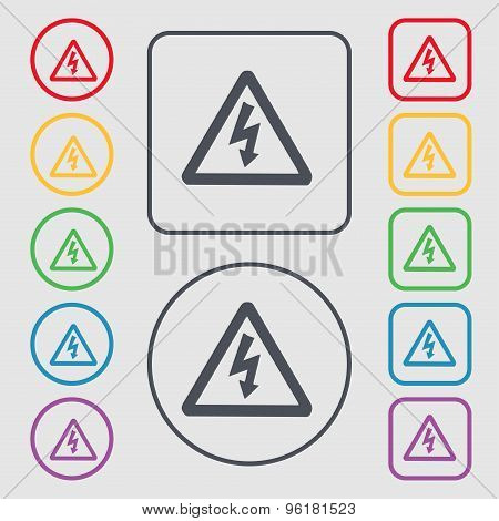 Voltage Icon Sign. Symbol On The Round And Square Buttons With Frame. Vector