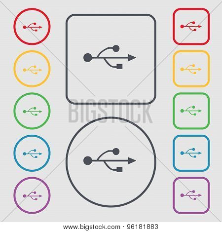 Usb Icon Sign. Symbol On The Round And Square Buttons With Frame. Vector