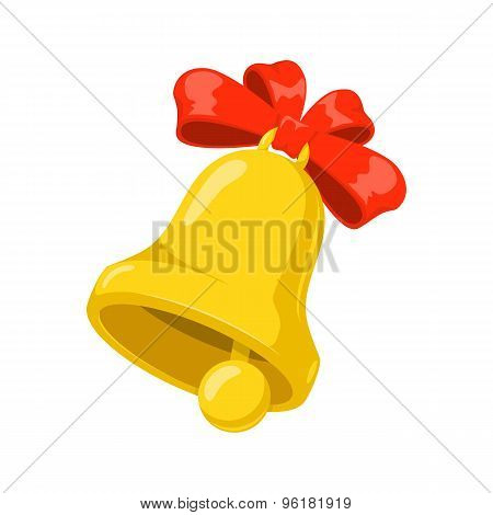 School bell with red bow.