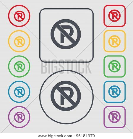 No Parking Icon Sign. Symbol On The Round And Square Buttons With Frame. Vector