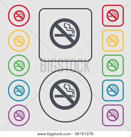 No Smoking Icon Sign. Symbol On The Round And Square Buttons With Frame. Vector
