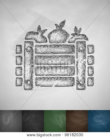 wooden crate vegetables icon