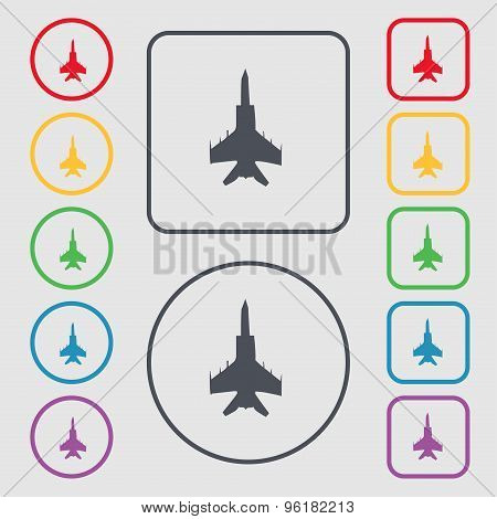 Fighter Icon Sign. Symbol On The Round And Square Buttons With Frame. Vector