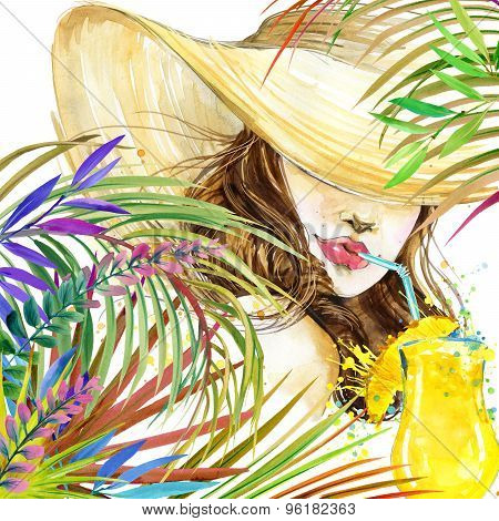 beautiful young woman with fruit cocktail and tropical leaves background. Girl and beach cocktail pa