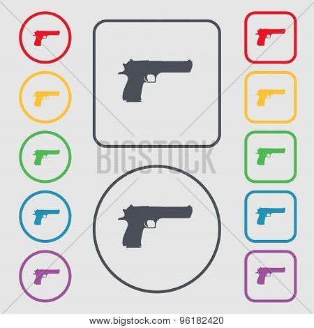 Gun Icon Sign. Symbol On The Round And Square Buttons With Frame. Vector
