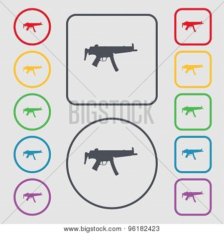 Machine Gun Icon Sign. Symbol On The Round And Square Buttons With Frame. Vector