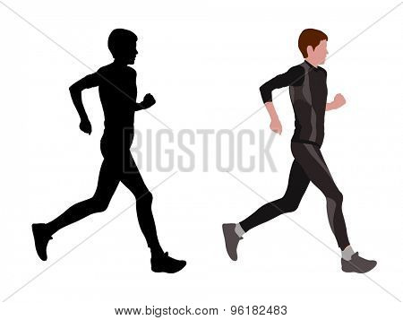 female marathon runner silhouette and illustration