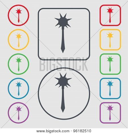 Mace Icon Sign. Symbol On The Round And Square Buttons With Frame. Vector