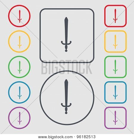 The Sword Icon Sign. Symbol On The Round And Square Buttons With Frame. Vector