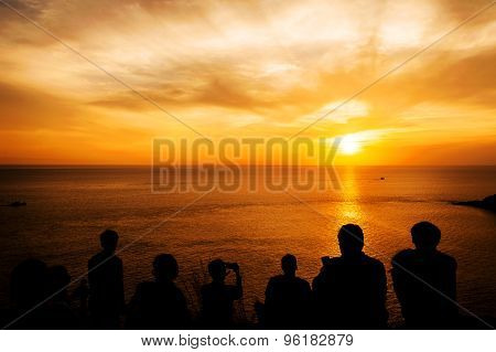 Silhouette With Color Of The Sunset