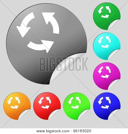 Refresh Icon Sign. Set Of Eight Multi Colored Round Buttons, Stickers. Vector