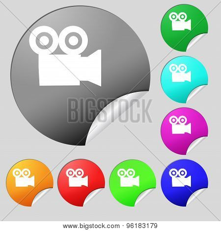 Video Camera Icon Sign. Set Of Eight Multi Colored Round Buttons, Stickers. Vector