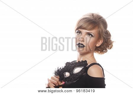 Girl With Makeup And Gothic Masquerade Mask.