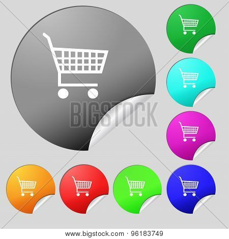 Shopping Cart Icon Sign. Set Of Eight Multi Colored Round Buttons, Stickers. Vector