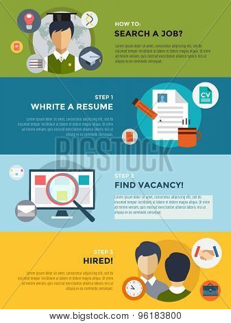 Job search after university infographic. Students, labor, searching and professions. Vector stocks illustration for design