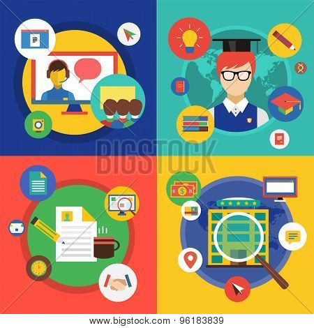 Webinar vector illustration. Online School , Courses and Communication Teamwork symbols. Stock design elements