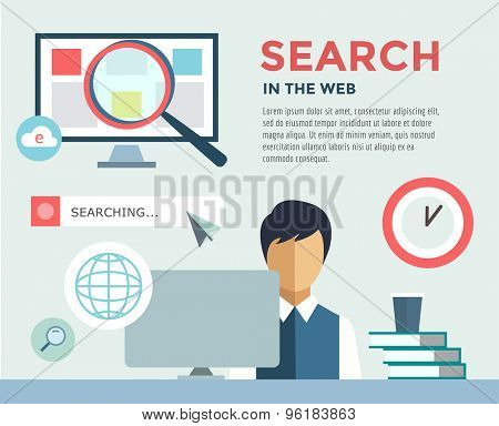 Clerk at Work infographic. Office, Table, Search Information and Computer. Vector stock illustration for design