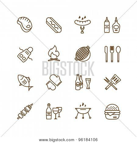 Barbecue and Food Icons Vector Objects set. Outdoor, Kitchen or Meat symbols. Stock design elements