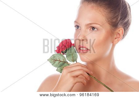 Portrait Of A Teen Girl With A Rose.