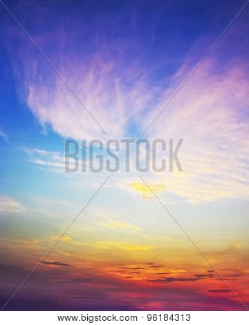 Sunset Sky Of Multiple Colors Of Asia.
