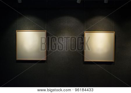 Two Blank Display Frames Highlighted In A Showroom
