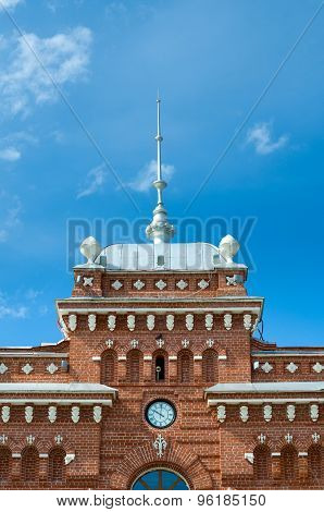 Spire Roof And Clock On Facade Of The Railway Station In Kazan.