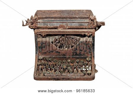 Ancient Isolated Rusty Typewriter