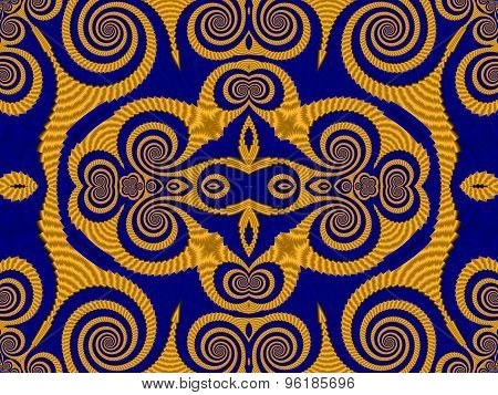 Symmetrical Textured Background With Spirals. Blue And Yellow Palette. Computer Generated Graphics.