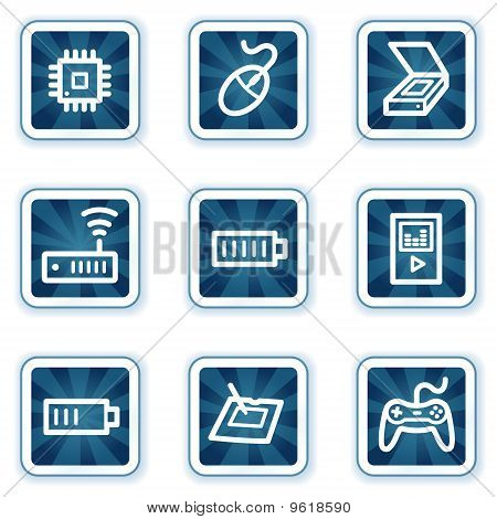 Electronics Web Icons Navy Square Buttons