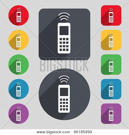 The Remote Control Icon Sign. A Set Of 12 Colored Buttons And A Long Shadow. Flat Design. Vector