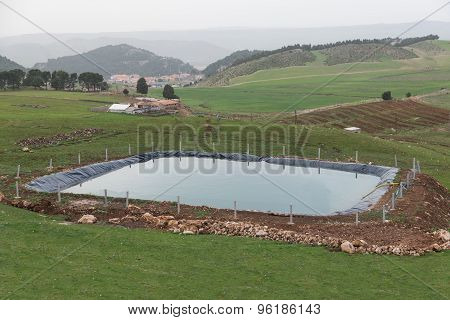 The Manmade Pool For Agriculture By Using Plastic Sheet